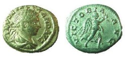 Ancient Coins - Severus Alexander Denarius.  VICTORIA AVG, Victory running right with palm & wreath.