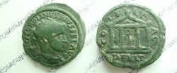 Ancient Coins - Gordian III AE24 of Deultum, Thrace.  COL F L PAC DEVLTVM, tetrastyle shrine with peaked roof, Aesklepios within leaning on serpent staff.