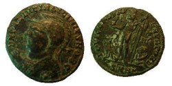 Ancient Coins - Licinius I AE3.  IOVI CONSERVATORI, Jupiter standing left holding Victory & eagle tipped scepter, eagle to left, captive to right, SMHG in ex.