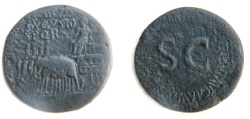 Ancient Coins - Tiberius Sestertius Rome AD 36-37. Four elephants drawing ornamented car,