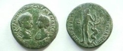 Ancient Coins - Elagabalus & Julia Maesa AE28 of Markianopolis.  Apollo, naked, standing facing, head right, with arm over his head, holding bow, serpent climbing tree to right, E to left.