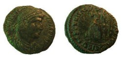 Ancient Coins - Valentinian I AE3.  SECVRITAS REIPVBLICAE, Victory advancing left, holding wreath & palm, .