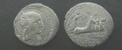 Ancient Coins - L Julius Bursio Denarius,  85 BC.  Victory in quadriga right, control letters above, L IVLI BVRSIO in ex.