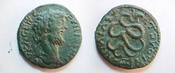 Ancient Coins - Septimius Severus Æ 24mm of Trajanopolis in Thrace.  Agodaimon serpent coiled right.