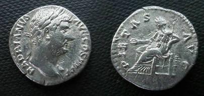 Ancient Coins - Hadrian Denarius.  PIETAS AVG, Pietas seated left with patera & scepter.