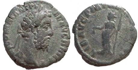 Ancient Coins - Commodus Denarius.  LIB AVG PM TR P XV COS VI,  Libertas standing left, holding pileus and rod.