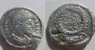 Ancient Coins - Valens AR Siliqua.  VOT X MVLT XX in four lines within laurel-wreath; •ANTA in ex.