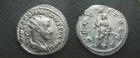 Ancient Coins - Gordian III Antoninianus.  SECVRIT PERP, Securitas standing left with scepter, leaning on column.