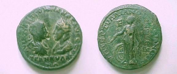 Ancient Coins - Gordian III and Tranquilina Æ 26mm Pentassarion of Markianopolis.  Nemesis standing left with rod & bridle, wheel at side, E in left field.