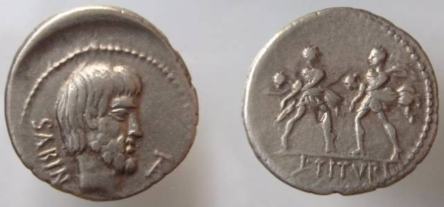 Ancient Coins - L. Titurius L.f. Sabinus. 89 BC. AR Denarius (3.83 gm). Head of king Tatius right / Two Roman soldiers, each carrying a woman.