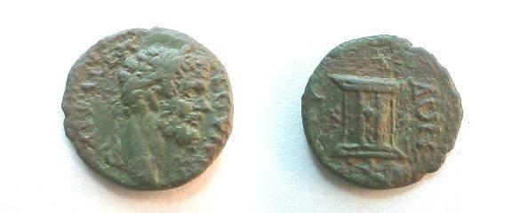 Ancient Coins - Septimius Severus AE18 of Serdica, Thrace. Altar.