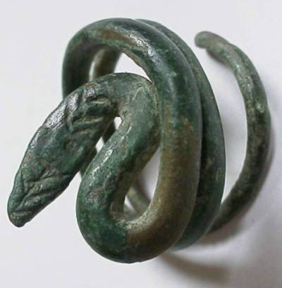 Ancient Coins - Roman bronze spiral ring with snake head.  Adjustible size 2-5.