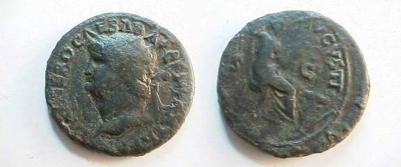 Ancient Coins - Nero AE Dupondius.  SECVRITAS AVGVSTI, Security seated right, altar at feet.