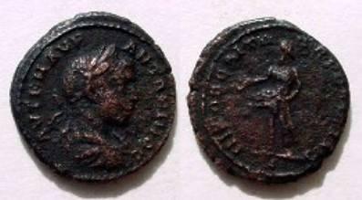 Ancient Coins - Elagabalus AE18 of Nikopolis. Priapus standing left with enormous penis.