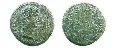Ancient Coins - Augustus Æ As of Antioch.  AVGVSTVS in laurel wreath.