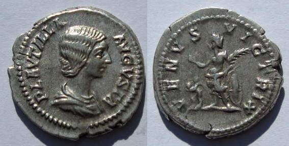 Ancient Coins - PLAUTILLA, AR Denarius, 203 AD. Venus.Eros stands lt.,  gVF