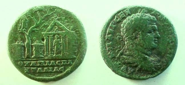 Ancient Coins - Caracalla AE31 of Pautalia, Thrace/extremely rare and fascinating type.