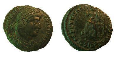 Ancient Coins - Valentinian I AE3.  SECVRITAS REIPVBLICAE, Victory advancing left, holding wreath & palm, .