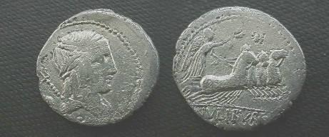 Ancient Coins - L Julius Bursio Denarius,  85 BC.  Victory in quadriga right, control letters above, L IVLI BVRSIO in ex.