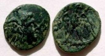 Ancient Coins - Kingdom of Macedon, Perseus, AE19.  BA above eagle with wings open, head left, standing on thunderbolt