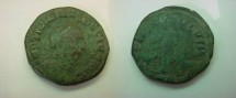 Ancient Coins - Trajan Decius AE29 of Viminacium.  PMS COL VIM, Moesia standing between bull & lion, AN XI in ex.