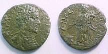 Ancient Coins - Septimius Severus AE26 of Odessos, Thrace.  Serapis standing left, holding patera over altar at feet left & cornucopia.