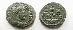 Ancient Coins - Severus Alexander AE21 of Nicaea.  3 standards.