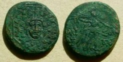 Ancient Coins - Pontos, Amisos, AE 21.  AMI-SOU, Nike advancing right carrying palm branch, monograms left and right.