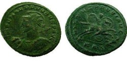 "Ancient Coins - Probus Æ Antoninianus.  VIRTVS PROBI AVG, Probus galloping right, spearing enemy whose shield lies beneath the horse, KA<font face=""SYMBOL"">D</font> in ex."