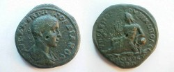 Ancient Coins - Gordian III Æ 28mm of Nikopolis ad Istrum.   River God reclining left leaning on jug from which river waters flow.
