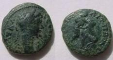 Ancient Coins - Septimius Severus AE18 of Nikopolis, Moesia. Hercules wrestling the Namean Lion