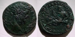 Ancient Coins - Septimius Severus AE28 of Nikopolis, Moesia Inferior. Bearded River-god .RARE