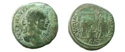 Ancient Coins - Caracalla AE28 of Pautalia, Thrace.  Hygeia and Asklepios standing either side of a flaming altar, all within a temple with a triangular roof.