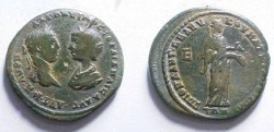 Ancient Coins - Elagabalus & Julia Maesa AE28 of Markianopolis.  Hygeia standing right feeding serpent from patera.