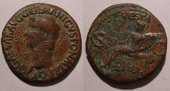 Ancient Coins - Gaius Caligula Æ As.Struck 37-8 AD. Vesta seated left, holding patera and sceptre