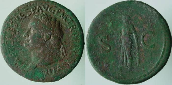 Ancient Coins - Titus Æ Sestertius. 80 AD.Greek archaic statue of Spes (Elpis)