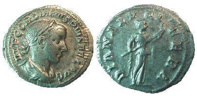 Ancient Coins - Gordian III AR Denarius.  DIANA LVCIFERA, Diana standing right, holding long transverse torch.