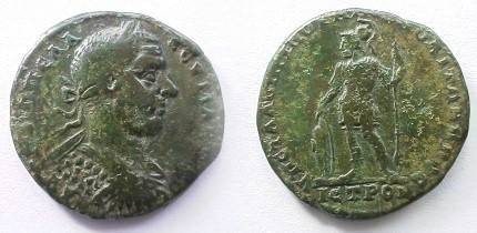 Ancient Coins - Macrinus AE28 of Nikopolis ad Istrum.  Ares standing left, helmeted,  resting left hand on sheild on ground, spear in right hand.