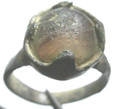 Ancient Coins - Roman bronze ring with a yellow amber or glass gem.  Size 4.
