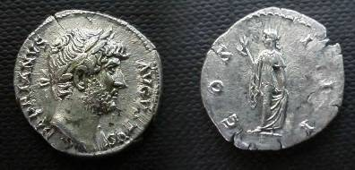 Ancient Coins - Hadrian Denarius,  HADRIANVS.  COS III, Spes advancing left, holding flower and raising the hem of her skirt.