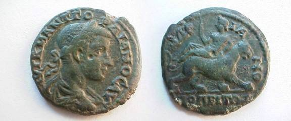 Ancient Coins - Gordian III AE26 of Hadrianoplis, Thrace.  Dionysos riding right on a panther.
