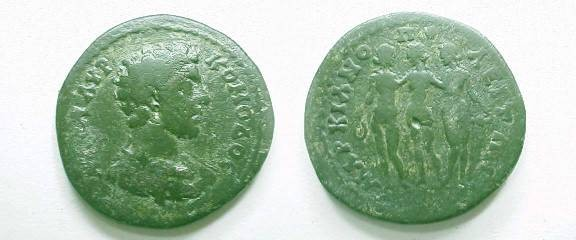 Ancient Coins - Commodus Æ25 of Marcianopolis. The Three Graces.
