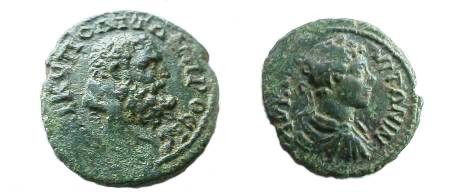Ancient Coins - Caracalla AE19 of Nikopolis ad Istrum.  Bearded head of Hercules right.