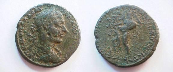 Ancient Coins - Macrinus AE26 of Nikopolis ad Istrum.  Hercules standing left bashing hydra with club held aloft.