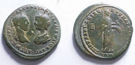 Ancient Coins - Elagabalus & Julia Maesa AE28 of Markianopolis.  Hygeia standing right feeding serpent from patera.