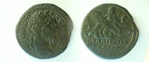 Ancient Coins - Septimus Severus AE30 of Pautalia.  Triptolemos flying right in biga of serpents.