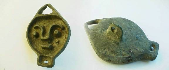 """Ancient Coins -  Romano-Celtic bronze """"Bread Stamp"""" in the form of a face.  45mm."""