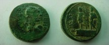 Ancient Coins - Augustus AE 26 mm of Amphipolis, Macedonia. Bust of Artemis right./Augustus on dais left, crowned by Genius.