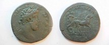 Ancient Coins - Commodus AE31 of Philippopolis. Nike with palm branch in slow biga right.