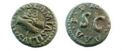Ancient Coins - Augustus Æ Quadrans,  9 BC.  III VIR A A A F F around large S C.